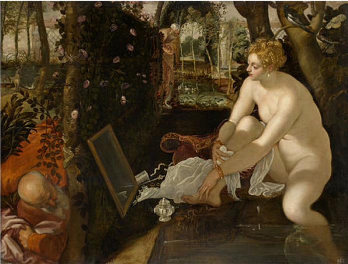 Tintoretto,  Suzanna and the Elders  (1555-56), oil on canvas, Kunsthistorisches Museum, Vienna. https://www.khm.at/objektdb/detail/1564/