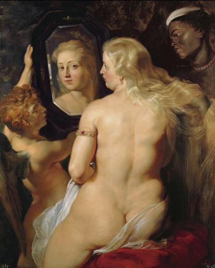 Peter Paul Rubens,  Venus at the Mirror (1614-15) ,  oil on panel, Princes of Liechtenstein Collection, Vienna.  https://commons.wikimedia.org/wiki/File:Rubens_Venus_at_a_Mirror_c1615.jpg