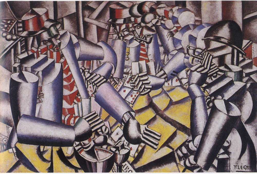 Fernand Léger,  Soldiers Playing Cards,  1917, oil on canvas, Kröller-Müller State Museum, Ontario.  https://krollermuller.nl/en/fernand-leger-soldiers-playing-cards