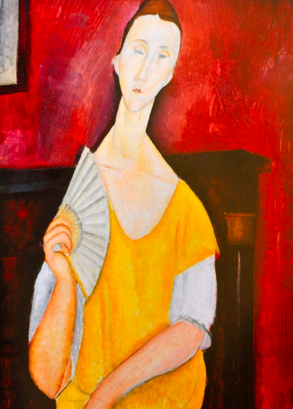 A reproduction of Modigliani's  La Femme a l'Éventail  (1919), one of the paintings stolen,  The New York Times.