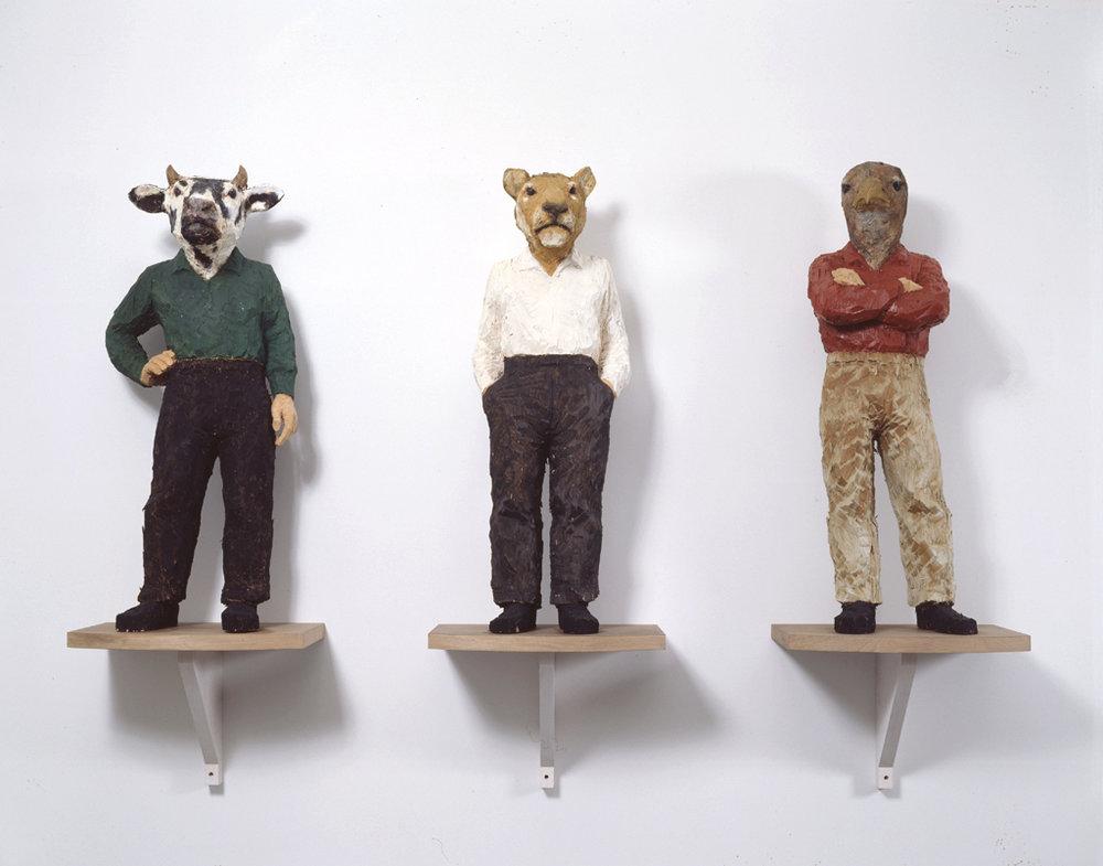 Stephan Balkenhol, Three Hybrids, 1995. Synthetic polymer on wood. Joseph H. Hirshhorn Bequest Fund, Hirshhorn Museum and Sculpture Garden, Washington, D.C. C., USA. https://www.saatchigallery.com/museums/FullSizeMuseumPhotos/ac_id/193/image_id/1131/imageno/10