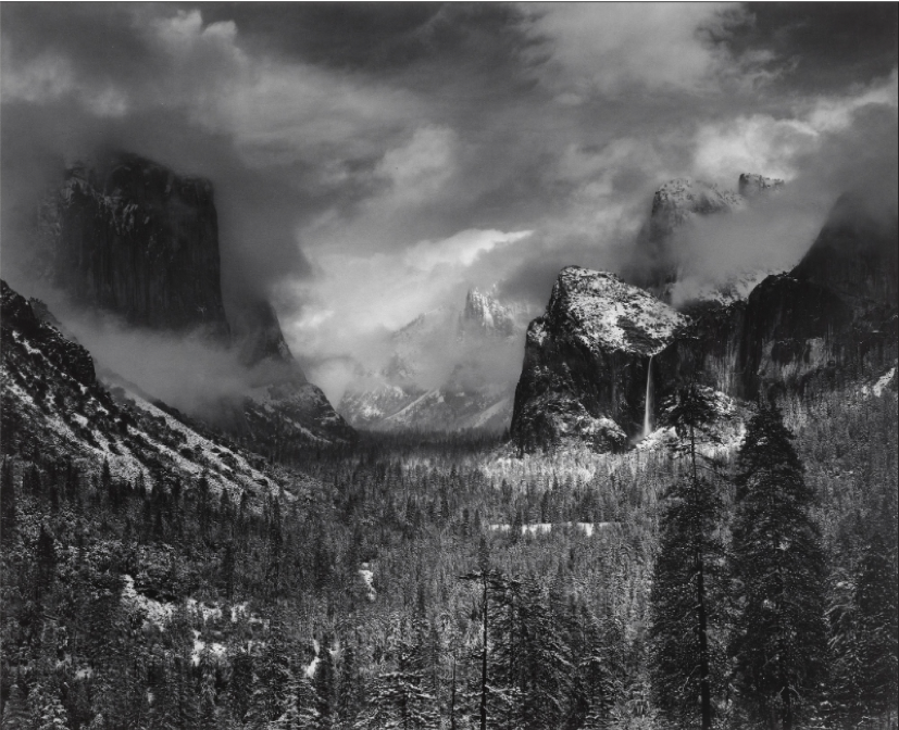 Ansel Adams,  Clearing Winter Storm, Yosemite National Park, California,  1944, gelatin silver print (printed 1978), 39.5 x 48.5 cm., Museum of Modern Art, New York.  https://www.moma.org/collection/works/52135 .