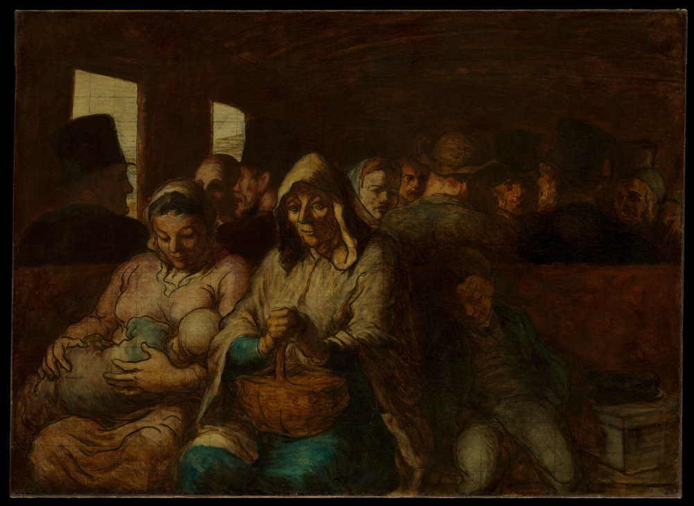 Honoré Daumier,  The Third Class Carriage,  1862, oil on canvas, 65.4 x 90.2 cm, Metropolitan Museum of Art.  https://www.metmuseum.org/de/art/collection/search/436095