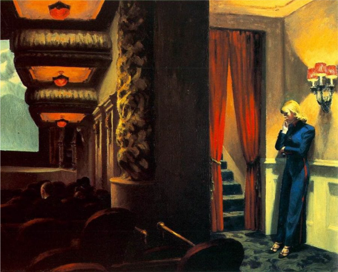 Edward Hopper,  New York Movie,  1939, Museum of Modern Art, New York, oil on canvas  https://www.moma.org/collection/works/79616