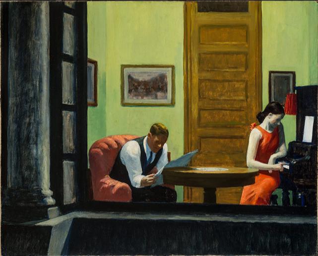 Edward Hopper,  Room in New York , 1932, oil on canvas, Sheldon Museum of Art https://sheldonartmuseum.org/work/hopper-room