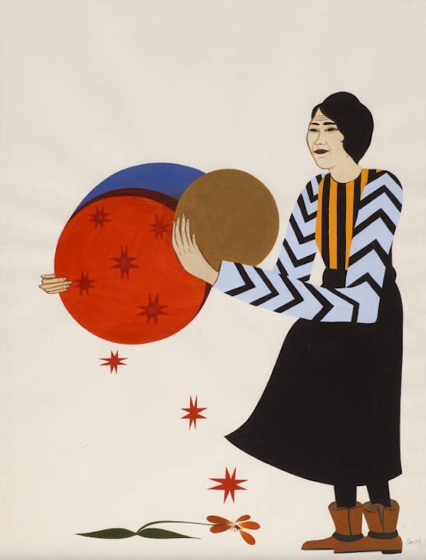 Clare Rojas,  Woman holding orbs , 2009, acrylic on paper, Gallery Paule Anglim. ( http://www.artnews.com/2014/02/06/art-and-feminism-wikipedia-editathon-creates-pages-for-women-artists/ )