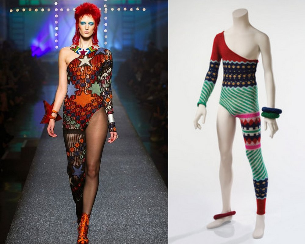 Left: a look from Jean Paul Gautier's ready-to-wear SS13 collection, taking inspiration from Bowie's Ziggy Stardust,  https://www.pinterest.co.uk/pin/762867624356936792/ ;   Right: Kansai Yamamoto,  Asymmetric knit bodysuit , 1972.   https://www.thecut.com/2018/02/kansai-yamamoto-on-dressing-david-bowie-as-ziggy-stardust.html