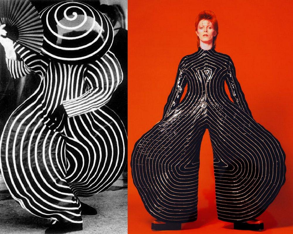 Left: Oskar Schlemmer, Costume from  Das Triadisches Ballett , 1922,  https://www.are.na/block/876938%20/ ;  Right: Masayoshi Sukita,  David Bowie wearing Kansai Yamamoto's Tokyo pop jumpsuit , 1973.  https://www.nytimes.com/interactive/2018/03/20/arts/design/bowie-costumes-ar-3d-ul.html
