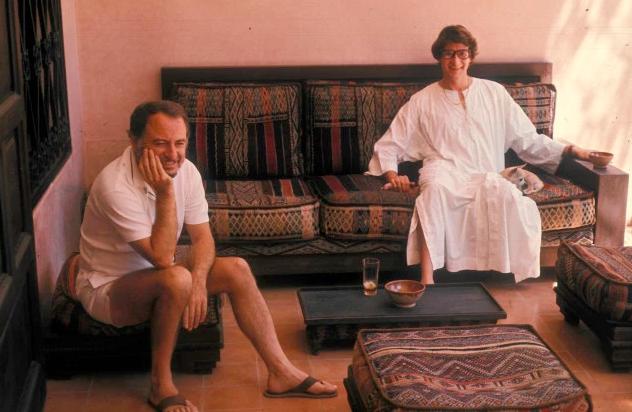 Guy Marineau,  Pierre Bergé and Yves Saint Laurent at their house in Dar Es Saada, Marrakech, Morocco.  Musée Yves Saint Laurent Paris, 1977.