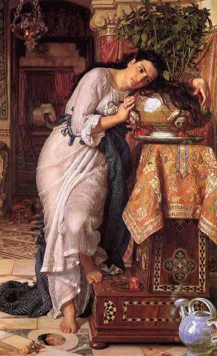 William Holman Hunt,  Isabella and the Pot of Basil,  1868, oil on canvas, 187 x 116 cm, Laing Art Gallery, Newcastle upon Tyne.  https://artuk.org/discover/artworks/isabella-and-the-pot-of-basil-36528 .