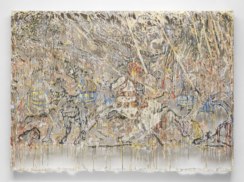 Diana Al-Hadid,  Attack , 2015, 217.2 × 304.8 × 14 cm, NYUAD Art Gallery.  Photo: Matt Grubb. Courtesy of the artist and Marianne Boesky Gallery, New York.  https://www.nyuad-artgallery.org/en_US/exhibitions/diana-al-hadid/ .