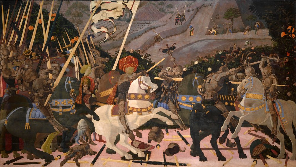 Paolo Uccello,  The Battle of San Romano , 1438–1440, egg tempera with walnut oil and linseed oil on poplar, 182 × 320 cm, National Gallery, London.  https://www.nationalgallery.org.uk/paintings/paolo-uccello-the-battle-of-san-romano