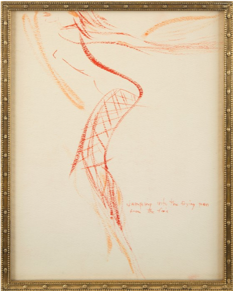 Marilyn Monroe,  Jumping into the Frying Pan from the Fire,  c. 1960, watercolour on paper.  https://www.artsy.net/artwork/marilyn-monroe-jumping-into-the-frying-pan-from-the-fire