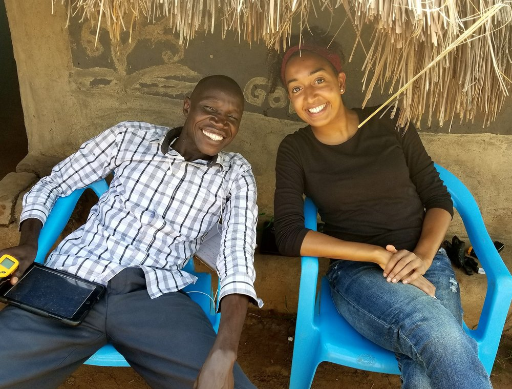 Krista (right), in Uganda representing Esperanza in September 2017