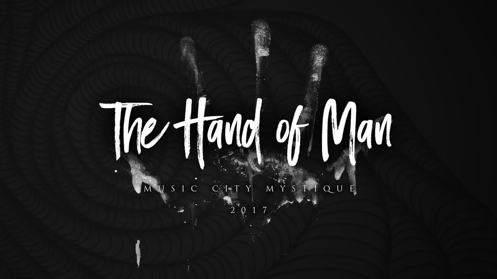 Hand of Man Indoor Percussion Show Logo