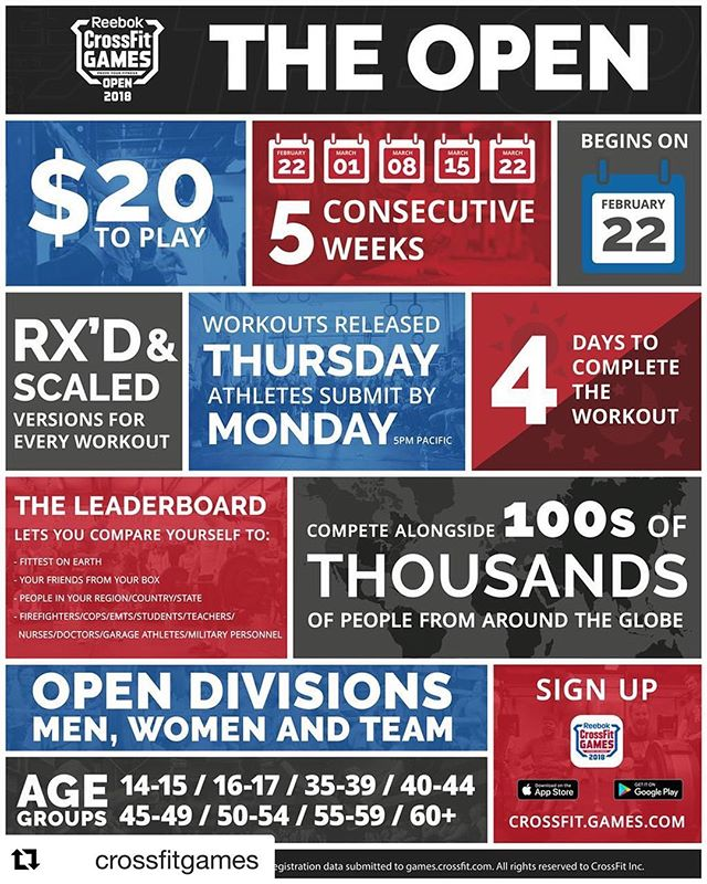 CrossFit Open is just days away! #Repost @crossfitgames with @get_repost ・・・ The Open starts in 9 days. Sign up and spread the word. Digital downloads of the 2018 Open infographic are now available in the @CrossFitStuff store. - Learn more about the #CrossFitOpen through the link in bio. #InTheOpen #CrossFit #CrossFitGames #Fitness
