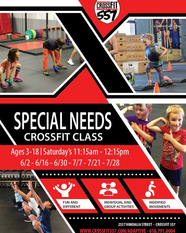 We are excited to announce the start of our new Special Needs CrossFit Class!  This is an adapted CrossFit class with emphasis on core strength, functional mobility, balance, coordination, and fluency of movement.  Our class is targeted to special needs children/teens ages 3-18 and their caregivers. Jennifer Norton, MSPT, will be leading this group. She has been practicing pediatric Physical Therapy for more than 20 years and competing in CrossFit for over 3.  When: 6/2, 6/16, 6/30, 7/7, 7/21, 7/28 Cost: $65 Register: www.crossfit557.com/adaptive
