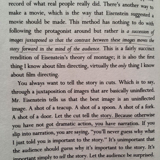 """Let the cut tell the story"" (+ Eisenstein theory of montage)   On directing film - -  David Mamet"