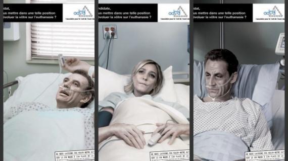 La campagne de l'Association pour le Droit de Mourir dans la Dignité à destination des candidats.. respect.