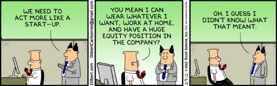Travailler comme une startup dans un groupe. Changer, vraiment? [en une photo]