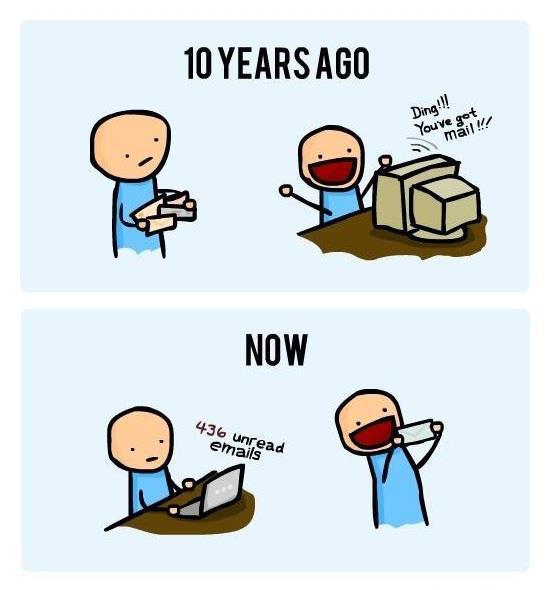 Lettres et e-mails, quand le monde change mais reste finalement assez semblable. #fun