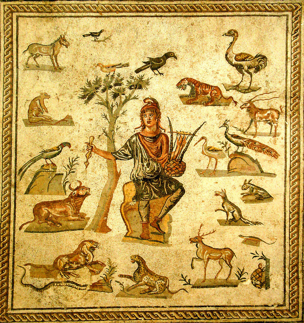 Orpheus surrounded by animals. Ancient Roman floor mosaic, from Palermo, now in the Museo archeologico regionale di Palermo. Picture by Giovanni Dall'Orto, foto di Giovanni Dall'Orto