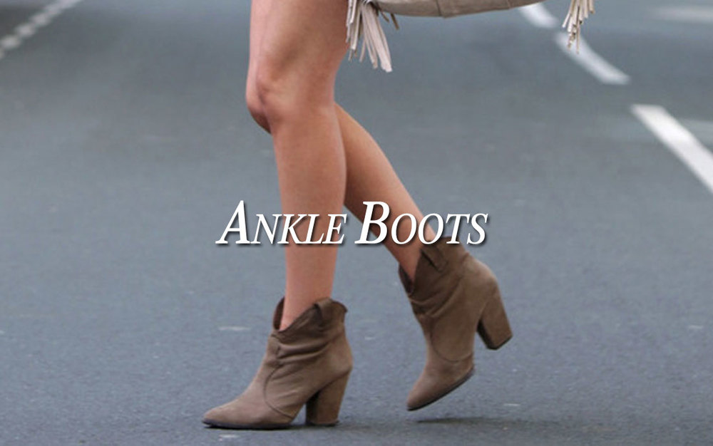What women's closet is complete without a couple pairs of ankle boots. Our collection of ankle boots range from heeled to flat and includesfaux exotic prints to traditional quilted patterns all available in a variety of colors including blacks, browns, tans and grays.