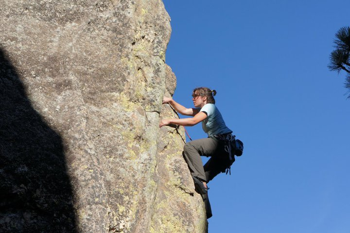"Here I am rock climbing a few years ago in South Dakota in the ""Needles."""