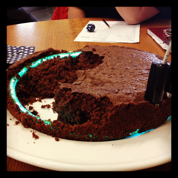 Neon Cake (chocolate & argon)