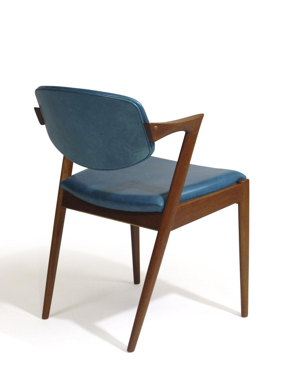 ... Kai Kristiansen Z Dining Chairs In Aqua Blue Leather Midcentury Danish  Modern ...
