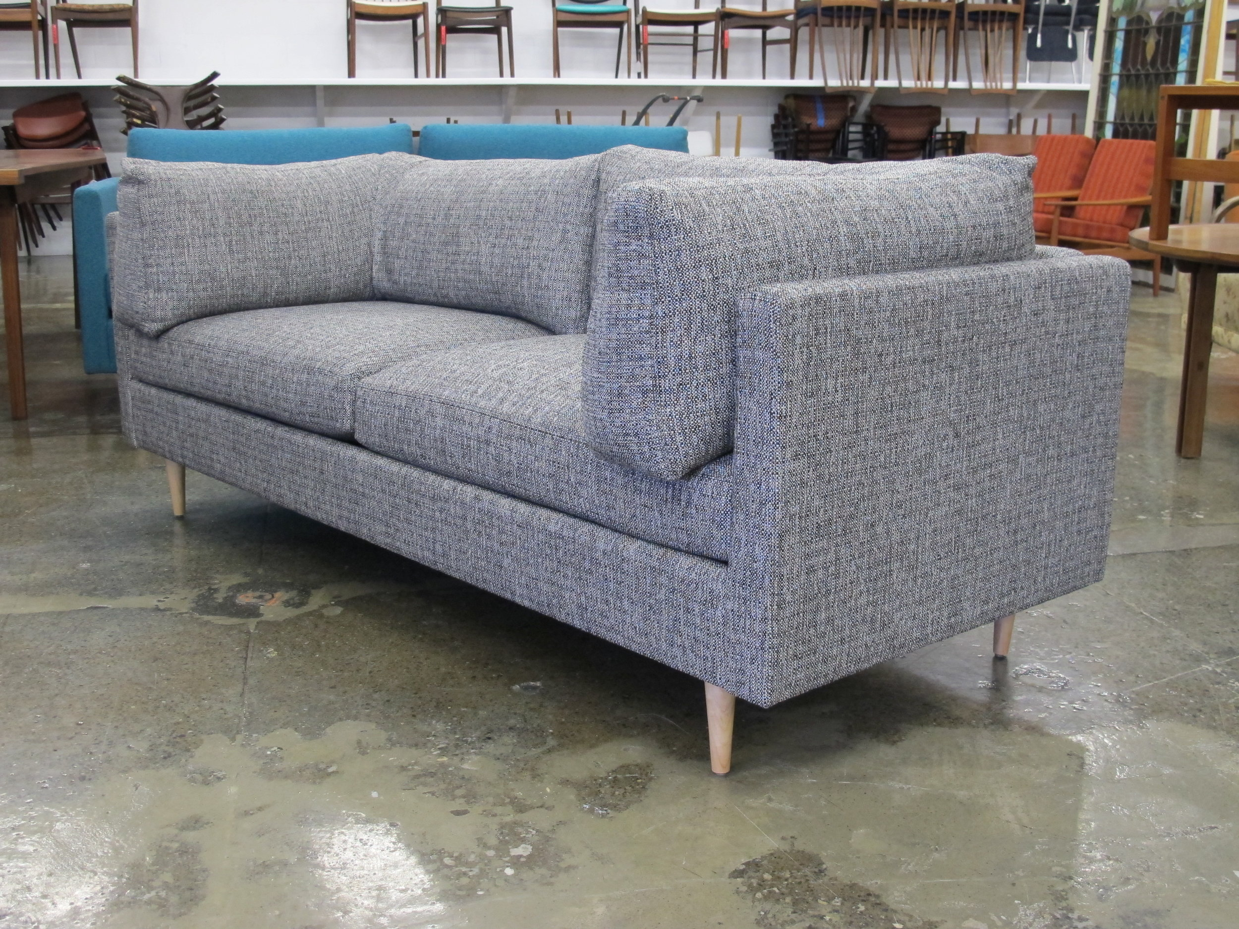 Thayer Coggin Grey Sofa With Down Filled Cushions Chris Howard