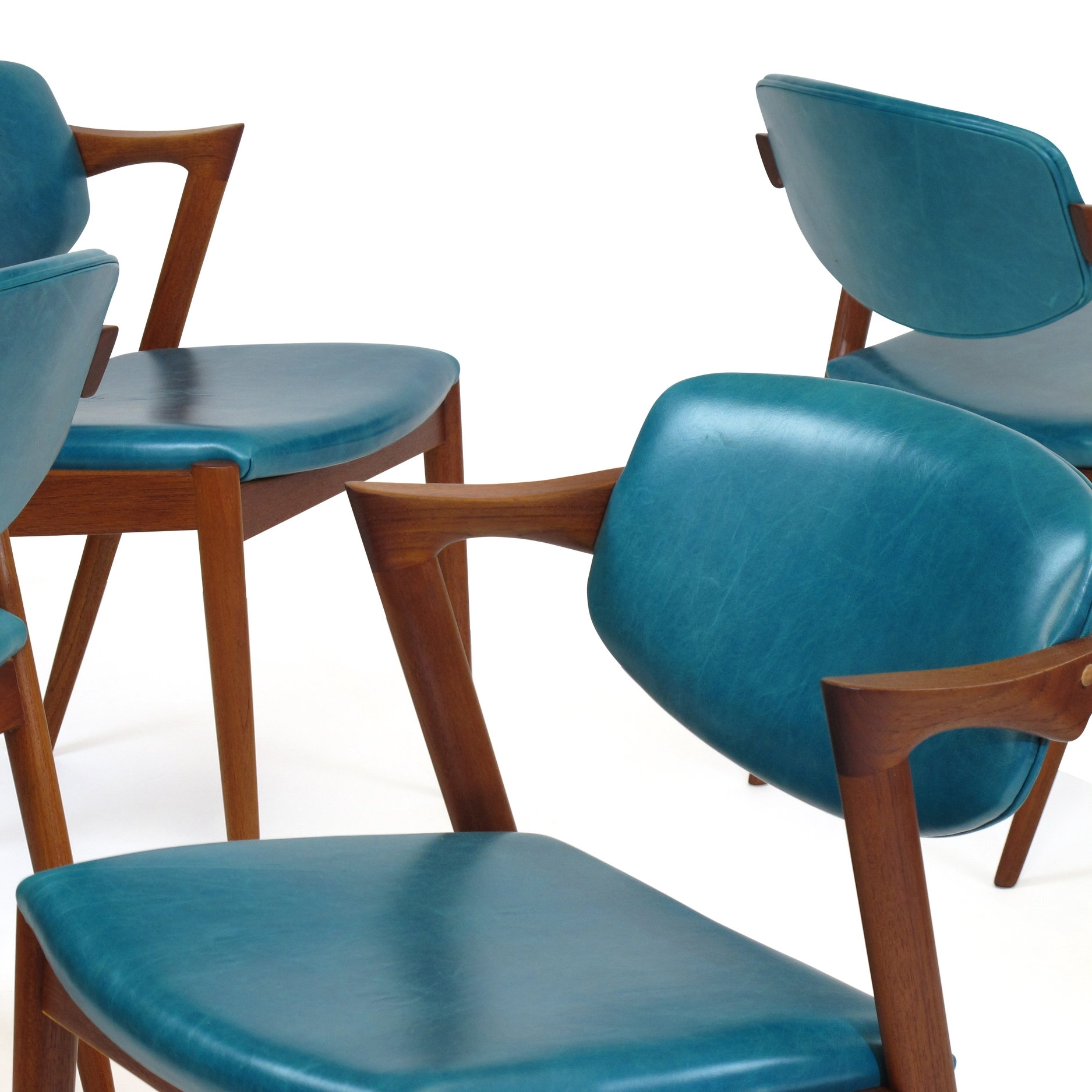 Kai Kristiansen Z Dining Chairs in Aqua Blue Leather 24 Available