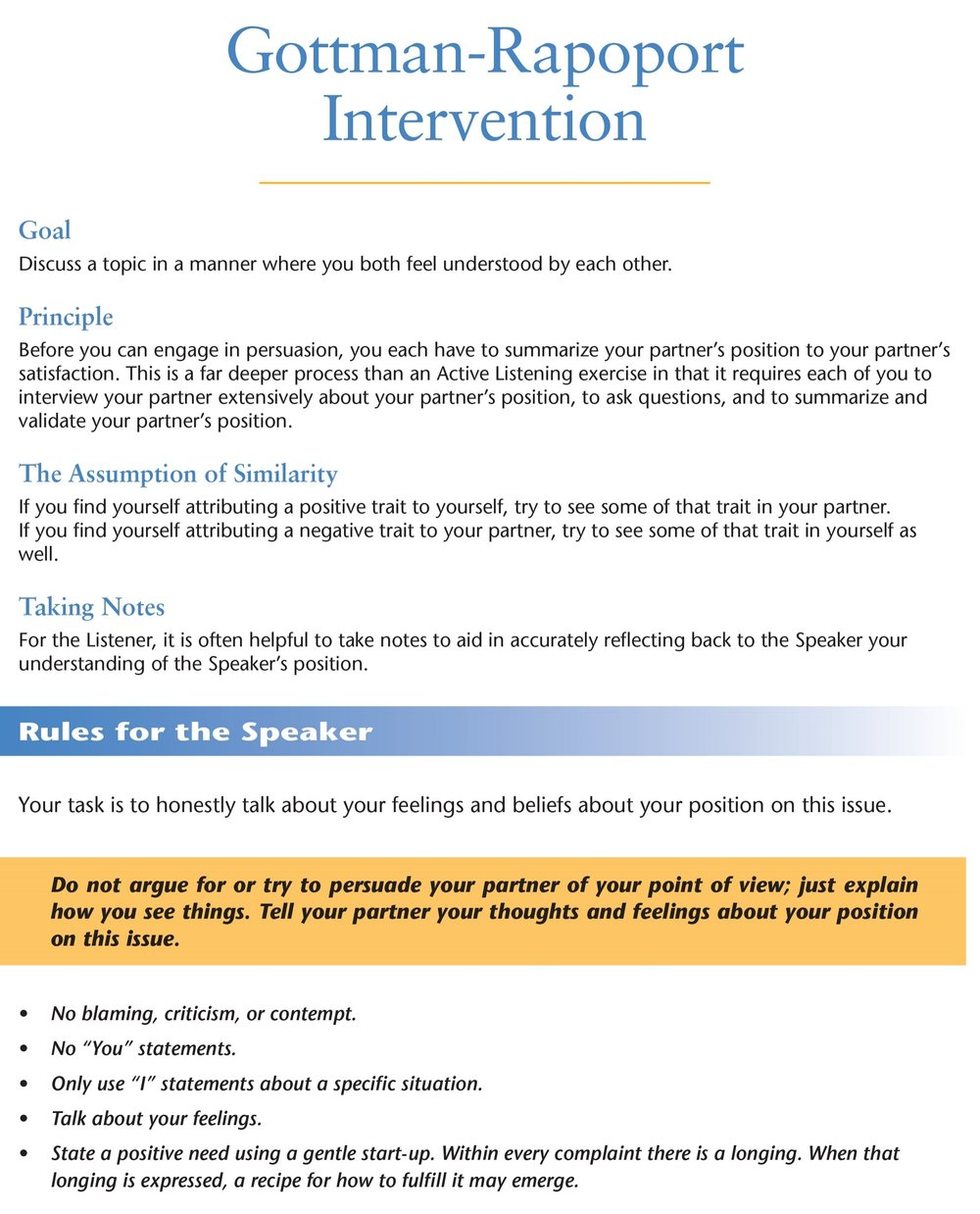 Guidelines for Communicating - Gottman-Rapoport Intervention provides rules for the speaker and listener when discussing a topic. Click on image for PDF.