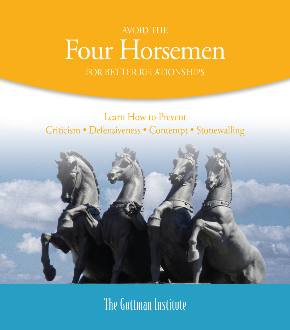 Avoid the Four Horsemen - Learn how to prevent Criticism, Defensiveness, Contempt and Stonewalling, which are corrosive to relationships. Learn the antidotes to the Four Horsemen. Click on image for PDF.
