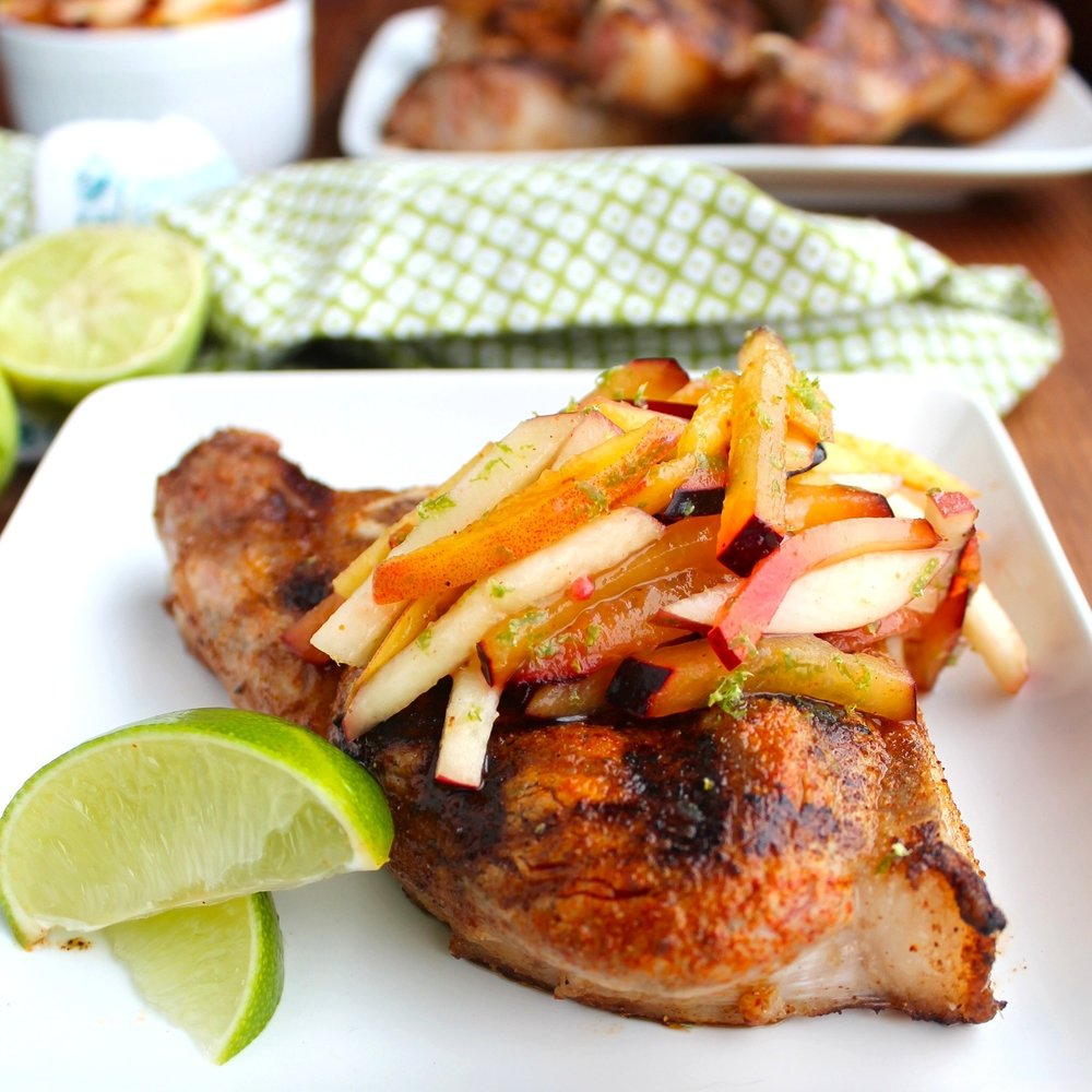 Grilled Pork Chops With Stone Fruit Slaw - [By zenbelly]A zesty slaw made from peaches, apricots, lime, and chile tops these perfectly grilled chops.