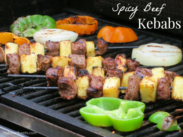 Spicy Beef Kebabs - [By My Heart Beets]I'm a huge fan of meat paired with fruit and this recipe does it flawlessly. The way the sweetness and acidity of the pineapple cuts through the meaty richness of the beef is perfection!