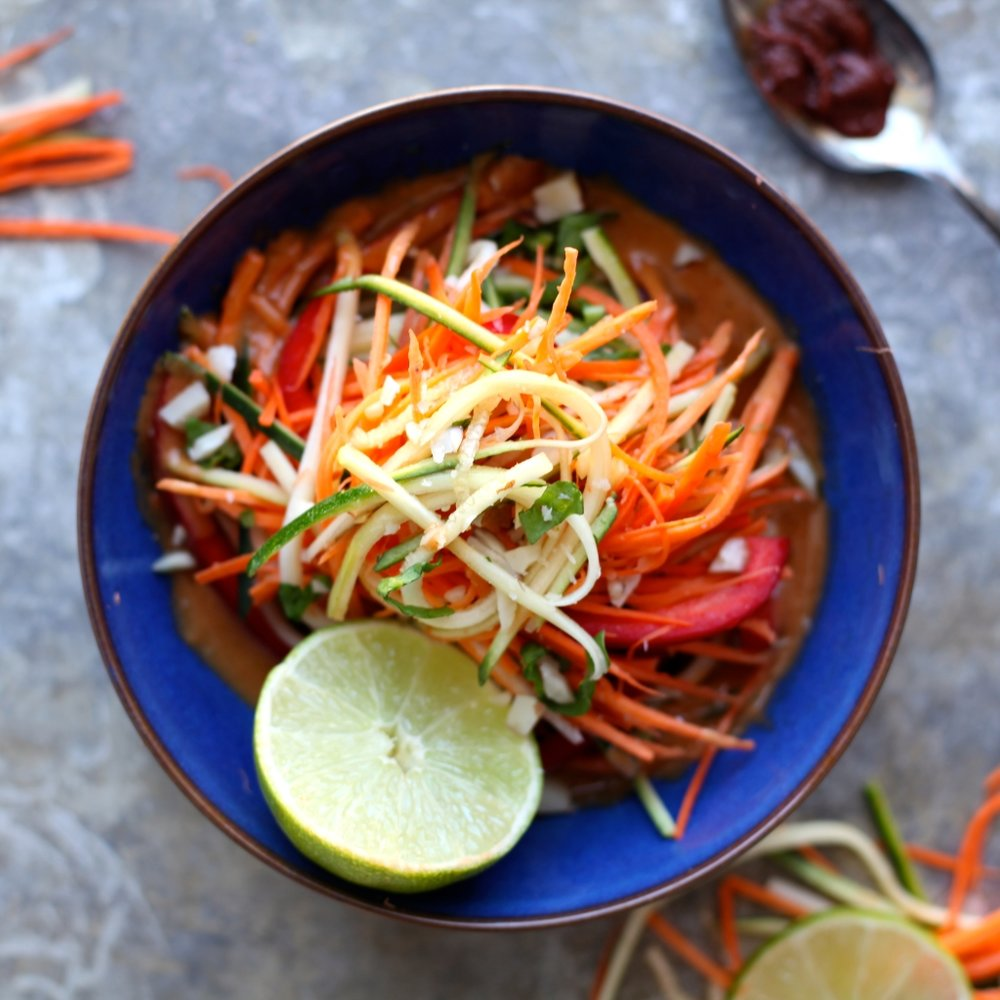 Coconut Lemongrass Raw Veggie Salad - [By Nutritionist In The Kitch]This Thai-inspired salad is packed with refreshing flavor from ingredients like Thai basil, cilantro, ginger, and lemongrass.