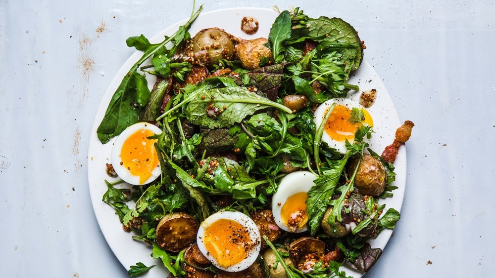 Summer Greens With Mustardy Potatoes - [By Bon Appetit]This warm side dish is what would happen if an egg salad and a potato salad had a delicious baby and added whole grain mustard. In other words, try it, it's delightful.