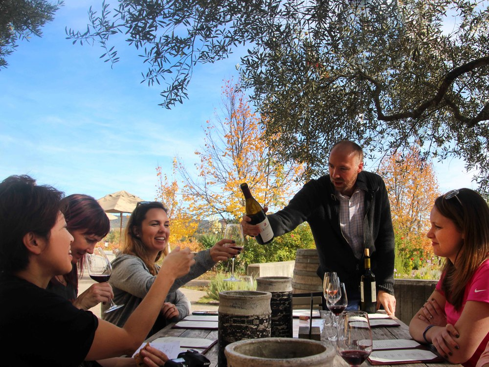 Visitors taste Quivira Winery's award-winning organic wines in a delightfully bucolic setting.