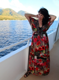 Making a fashion statement on board UnCruise Adventures' Safari Explorer, off the coast of Mauai
