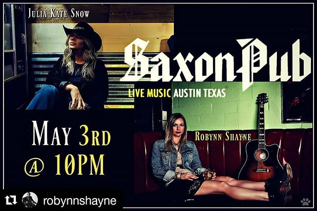 #Repost @robynnshayne (@get_repost) ・・・ Join me and @juliakatesnow this Thursday @thesaxonpub for an intimate acoustic show filled with stories and ear candy. #Singersongwriters #LiveMusic #NewMusic #Country #Music #Artists #StoryTime #EarCandy #ATX #Acoustic #HustleWithGrace