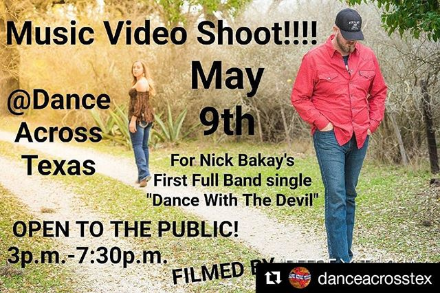 #Repost @danceacrosstex (@get_repost) ・・・ Wanna be an extra in a music video!? Wednesday May 9th! @nickbakayband filming a video @danceacrosstex doors open at 3pm #reddirtcountry #countrymusic