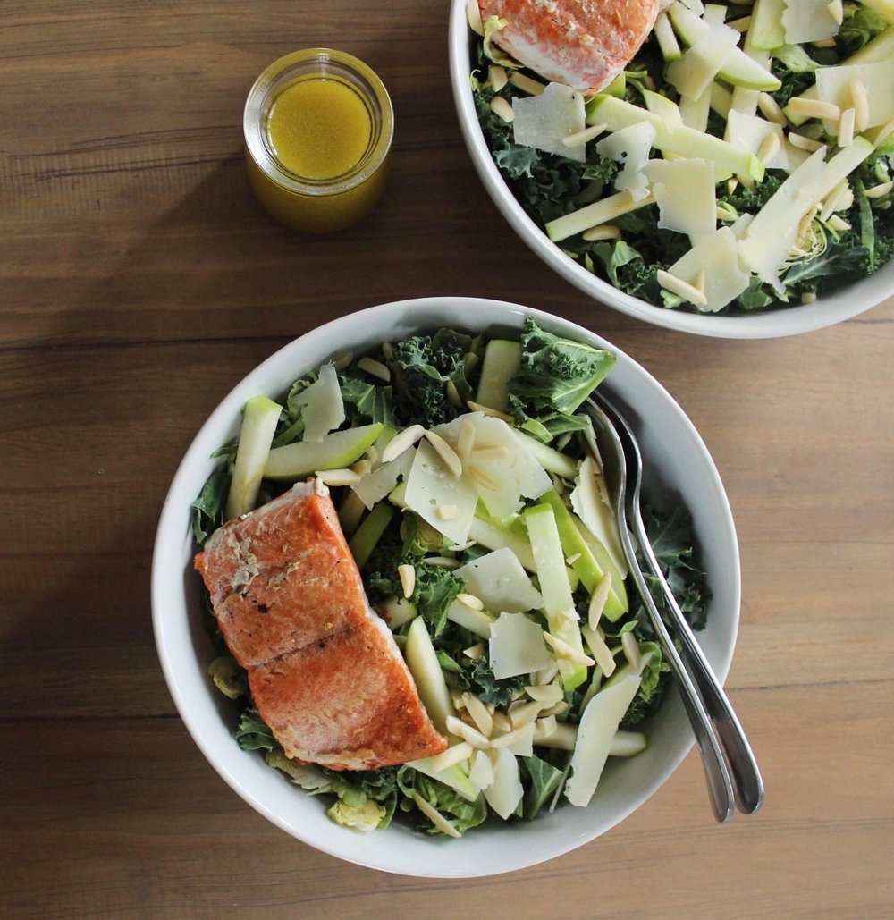 salmon green apple parmesan salad