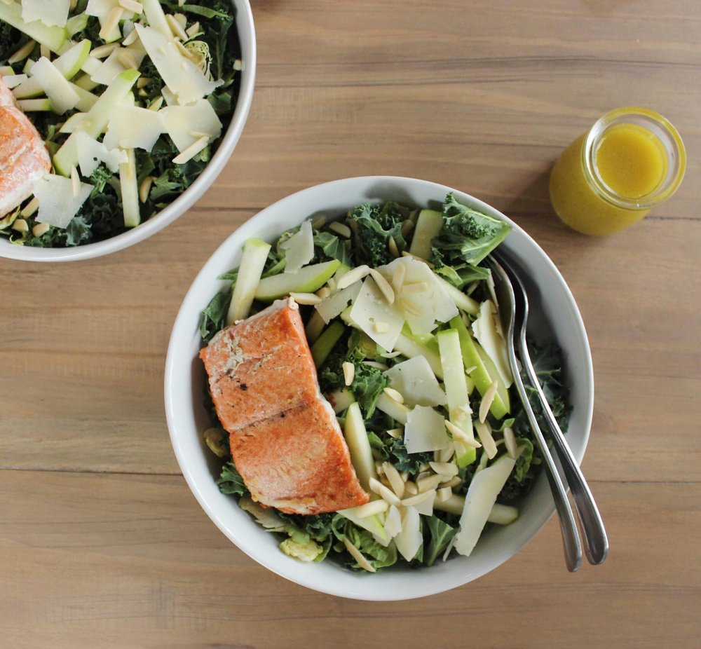 healthy salad with salmon
