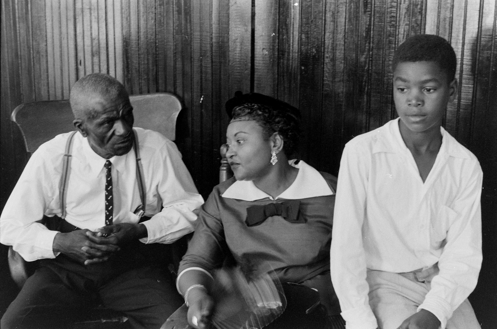Mississippi Murder Trial of Emmett Till: Emmett Till's great-uncle Moses Wright; his mother Mamie Till-Mobley; and his cousin Simeon Wright. (Photo By Ed Clark/The LIFE Premium Collection/Getty Images)