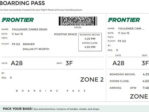 A Sample Of Frontiers New Boarding Pass Via ABC News