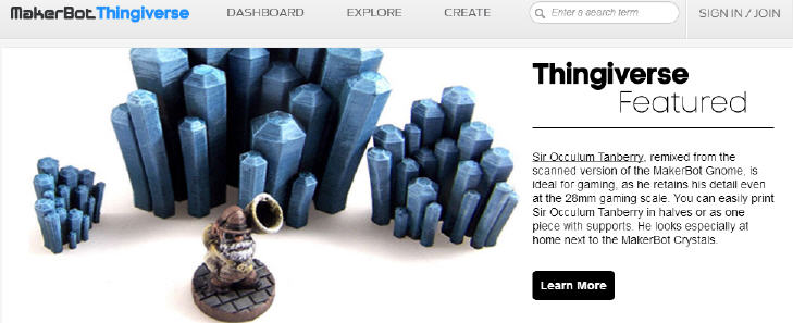 Screenshot from Thingiverse.com. Source: Thingiverse.com