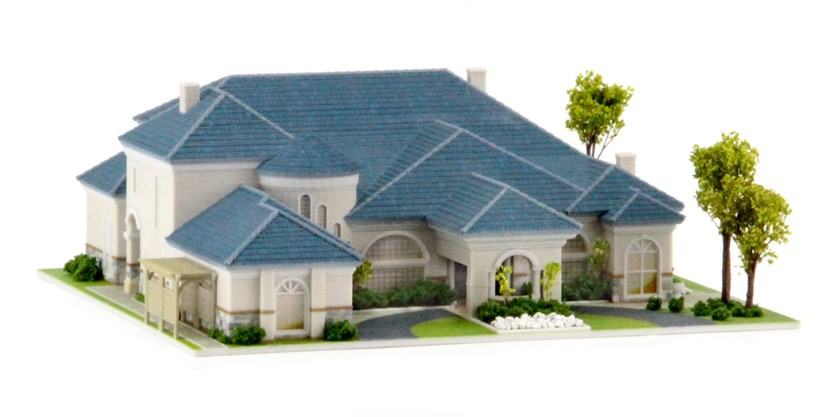 Architectural home model  Source  WhiteClouds. 3D Printed Mediterranean Home with Landscaping   whiteclouds 3D