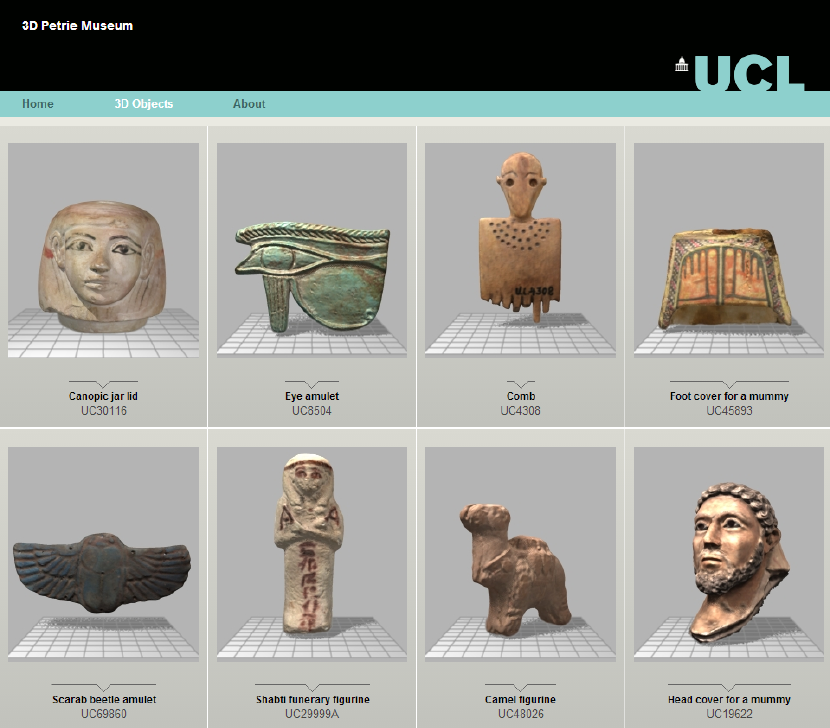 Petrie Museum online 3D library screenshot. Source: Petrie Museum