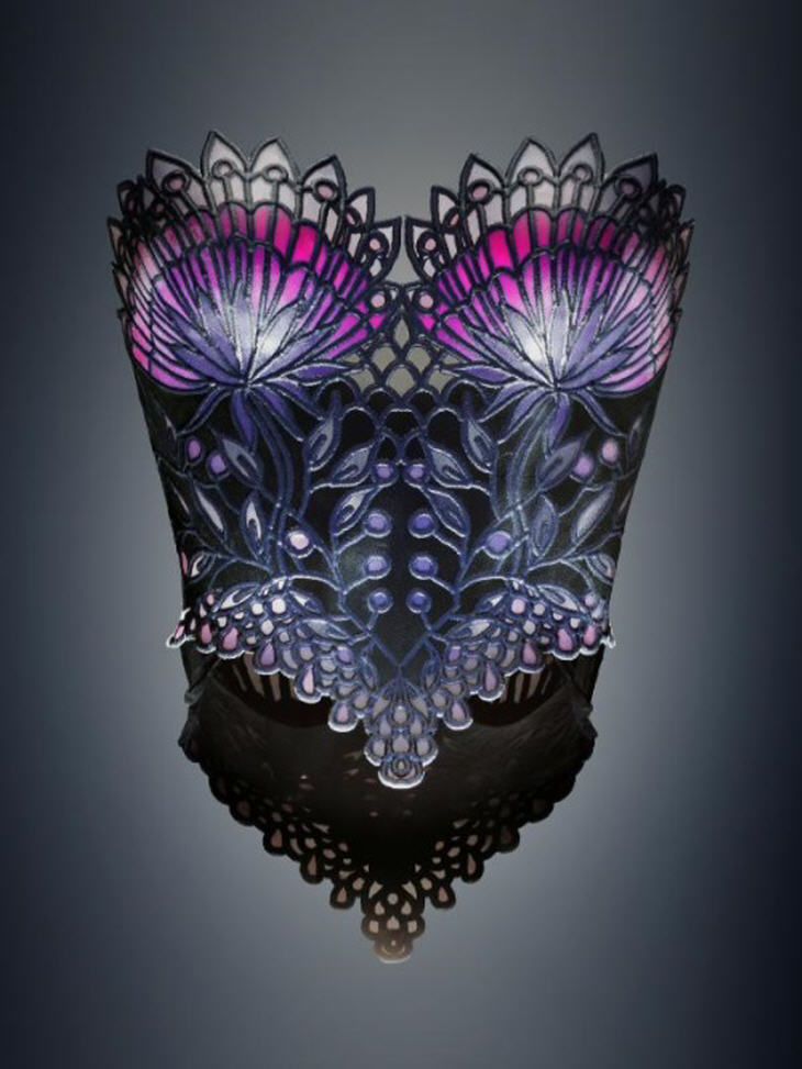 3D printed stained glass corset, from the Garden of Eden collection. Source: Dr. Michaella Janse van Vuuren